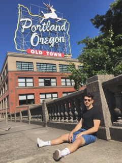 Nicholas on vacation, taking some downtime in Portland, Oregon.