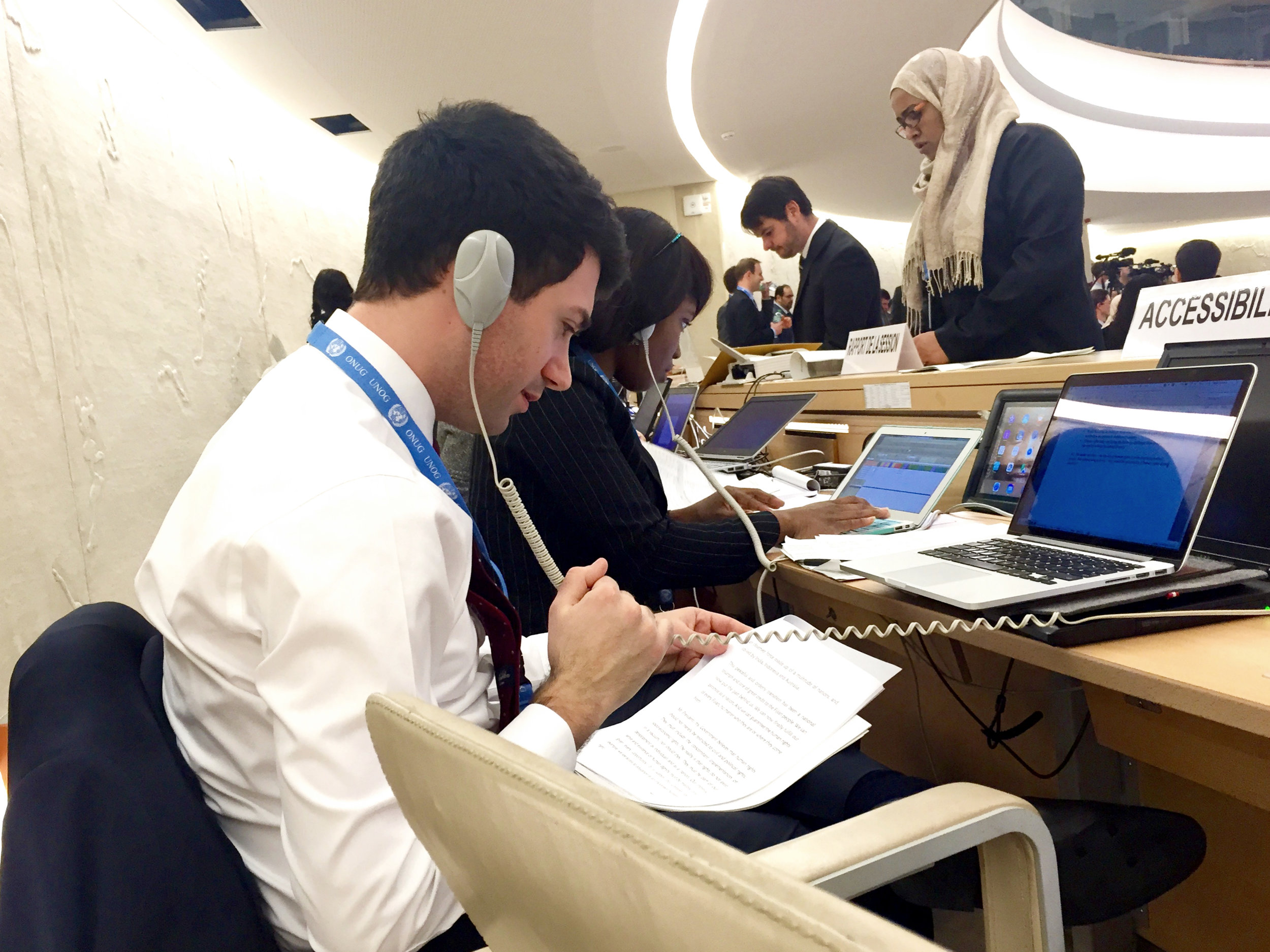 Nicholas interning at the UN.