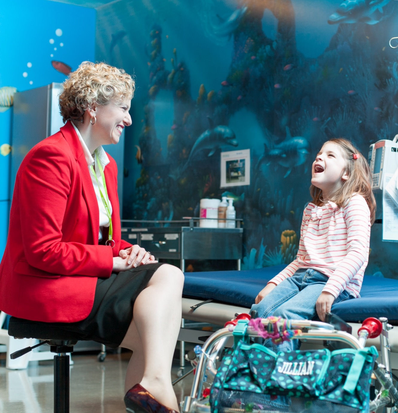 Julia with a patient at Holland Bloorview Kids Rehabilitation.