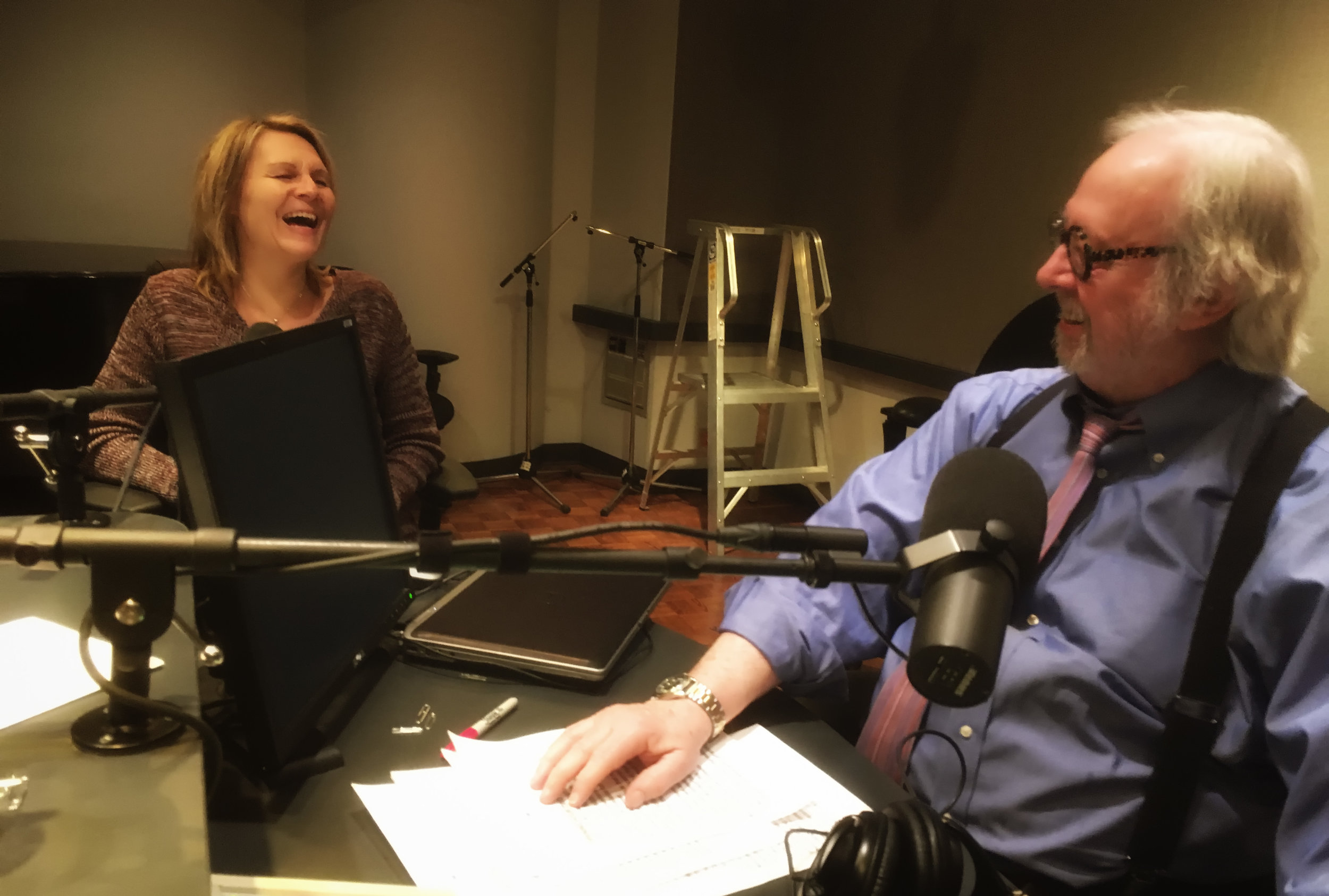 Bonnie with Michael Enright, the host of The Sunday Edition on CBC Radio One.