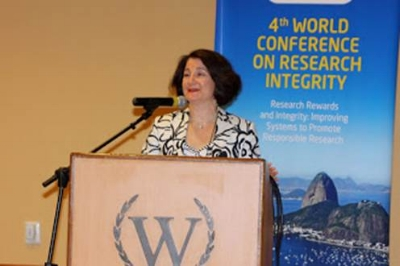 Susan speaking at the 4th World Conference on Research Integrity in Rio in 2015.