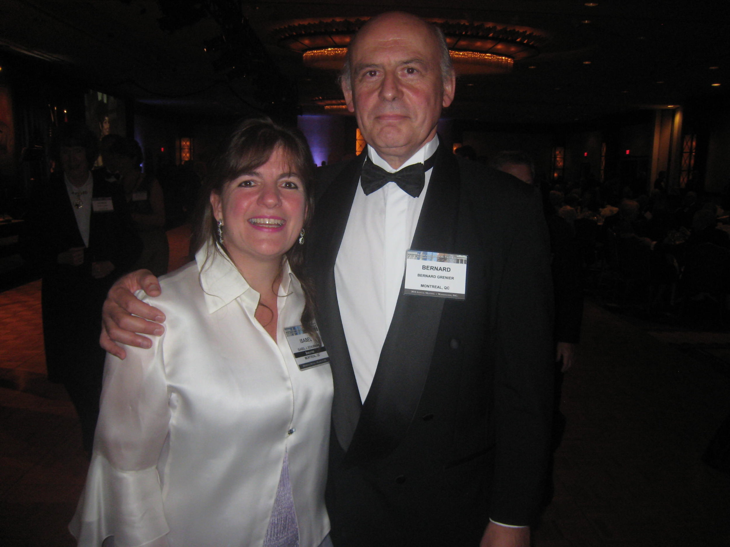 Isabel with husband Bernard at her swearing in at the American College of Trial Lawyer Conference in Washington, 2010.