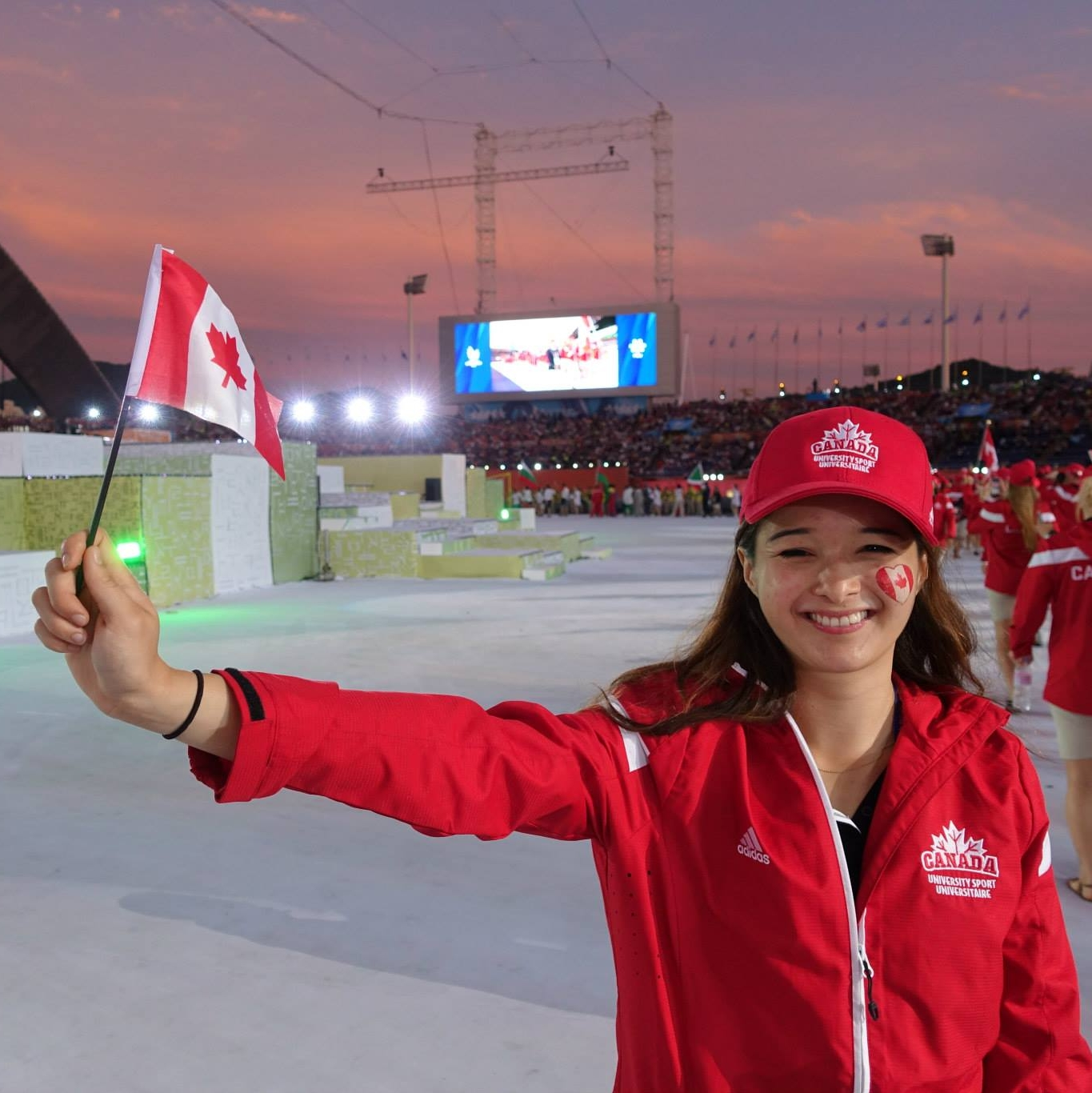 Louise at the opening ceremony of the 2015 University Games in Gwanju, South Korea (during law school). Read about her experience fencing while at law school here :  https://www.canadianlawyermag.com/author/anastasiya-jogal/fencing-through-law-school-2945/