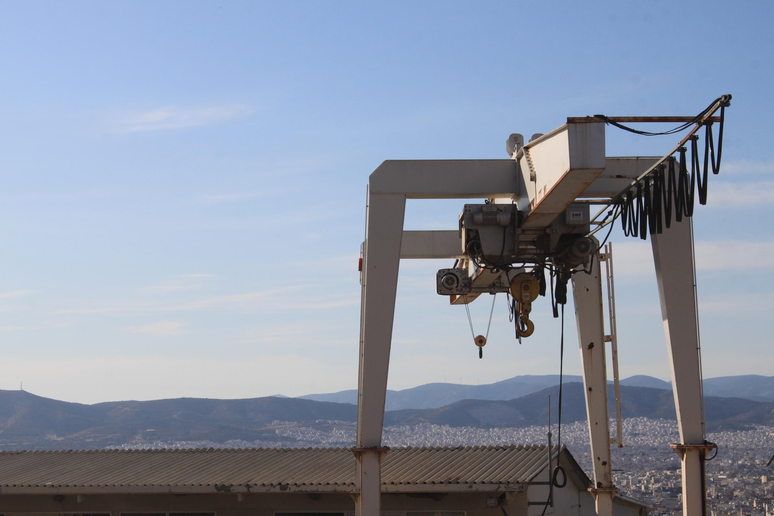 Crane machinery , Athens, Greece, 2015