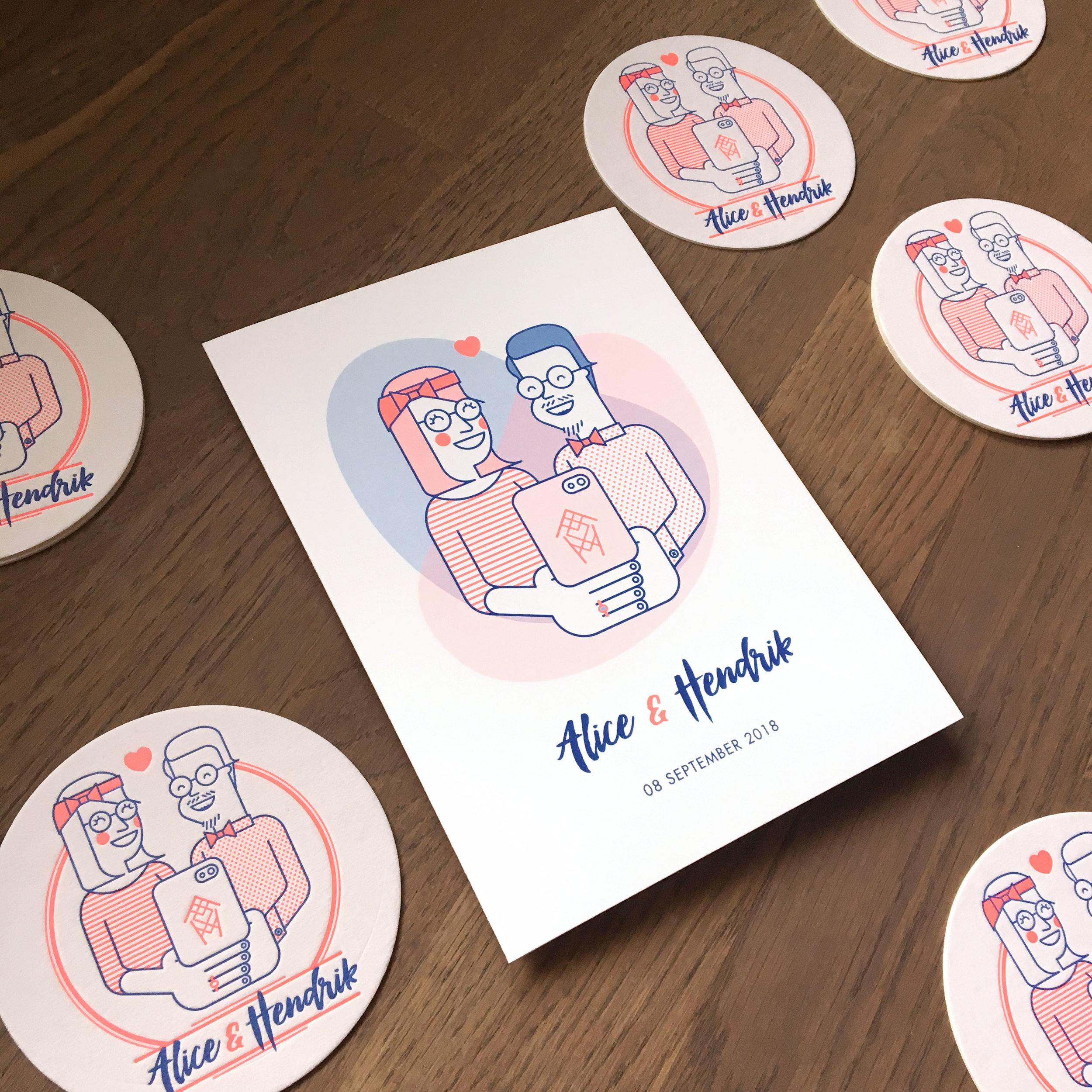 illustration_andre_levy_zhion_vector_flat_outline_alice_hendrik_portrait_wedding_icons_selfie_happyalice_happyhendrik_coasters_letterpress.jpg