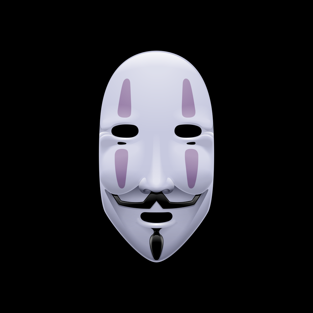 material_iconic_illustration_andre_levy_zhion_mashup_mask_vendetta_guy_fawkes_anonymous_noface_kaonashi_chihiro_spirited_away.png