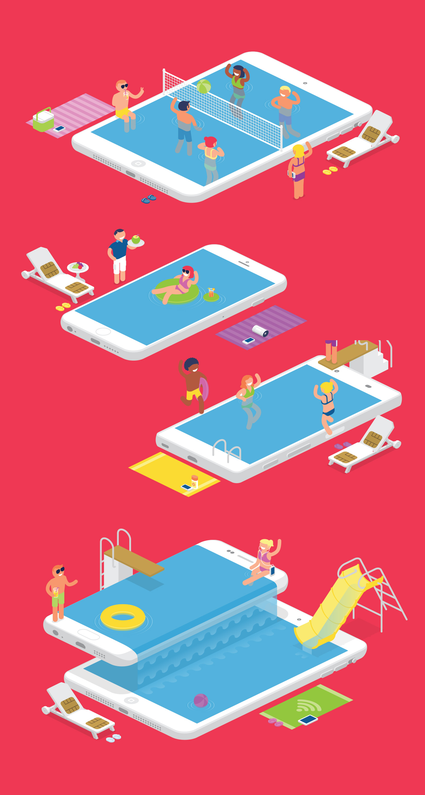 illustration_andre_levy_zhion_vector_isometric_perspective_campaign_o2_ogilvy_proposal_swimming_pool_party_friends_summer_cheerful_mobile_ipad_iphone_samsung_galaxy_friends.jpg