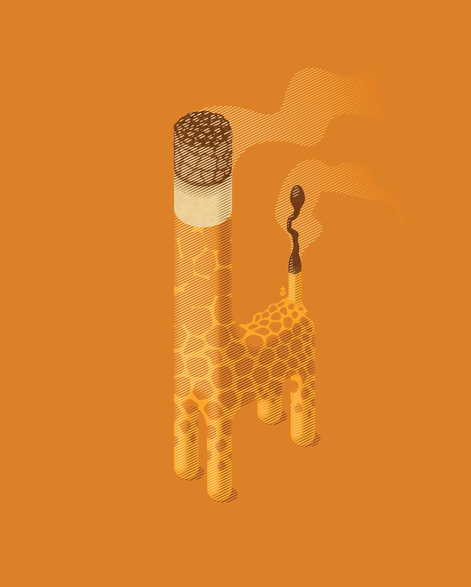 illustration_andre_levy_zhion_vector_pop_orange_cigarrete_match_fire_burning_smoke_giraffe_toy_passive_smoking.jpg