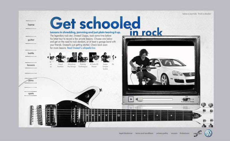 the coolest part of the site were these online guitar lessons with dweezil zappa. as the video played, notations appeared on the guitar below so you could follow along with whatever dweezil was playing. (how cool is that name, by the way?)