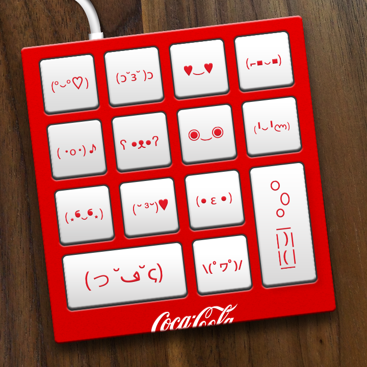 """Coke-moticon keyboard, the best invention since Coca-Cola."""