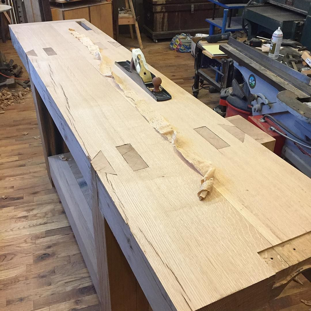Full length shaving from the other day when I was flattening my new white oak workbench top. An even, full length shaving with my @lienielsentoolworks #7 means it's pretty well flat. Glad that project is done!   Getting ready to start upholstering a sofa and some chairs. More pics coming soon… #condortails #madeinusa #madeinmichigan #Benchcrafted #woodshop #workshop  #woodwork  #handmade #cherry #beech  #workbench #roubo #tenon #dovetail #legvise #wagonwheel #woodworking #mcmfurniture #lienielsen #whiteoak #emmert #vise #patternmaker  http://ift.tt/1TZRJZA