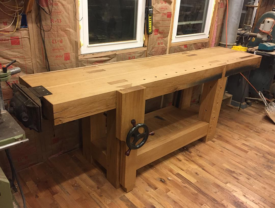 Finally finished! I will take nice pics at some point… #condortails #madeinusa #madeinmichigan #Benchcrafted #woodshop #workshop  #woodwork  #handmade #cherry #beech  #workbench #roubo #tenon #dovetail #legvise #wagonwheel #woodworking #mcmfurniture #lienielsen #whiteoak #emmert #vise #patternmaker  http://ift.tt/1QdJG5R