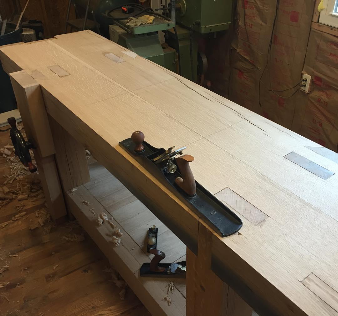 Workbench top is almost flat and smooth. I love my @lienielsentoolworks No7.    #condortails #madeinusa #madeinmichigan #Benchcrafted #woodshop #workshop  #woodwork  #handmade #cherry #beech  #workbench #roubo #tenon #dovetail #legvise #wagonwheel #woodworking #mcmfurniture #lienielsen #whiteoak #emmert #vise #patternmaker  http://ift.tt/1KdaRke