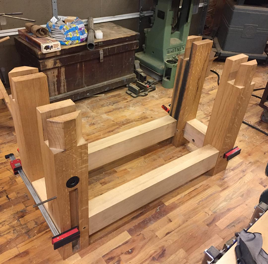 "Getting ready to transfer drawbore hole locations onto the stretchers. I will probably offset the 5/8"" holes a fat 1/16"". Bench is finally coming together which is a great feeling!    #condortails #madeinusa #madeinmichigan #Benchcrafted #woodshop #workshop  #woodwork  #handmade #cherry #beech  #workbench #roubo #tenon #dovetail #legvise #wagonwheel #woodworking #mcmfurniture #lienielsen #whiteoak #emmert #vise #patternmaker  http://ift.tt/1WihuU0"
