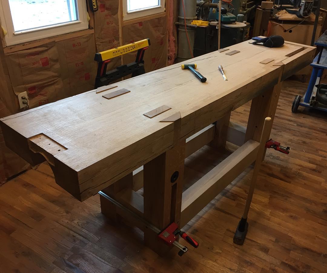 Bench is coming together… #condortails #madeinusa #madeinmichigan #Benchcrafted #woodshop #workshop  #woodwork  #handmade #cherry #beech  #workbench #roubo #tenon #dovetail #legvise #wagonwheel #woodworking #mcmfurniture #lienielsen #whiteoak #emmert #vise #patternmaker  http://ift.tt/1RZzceH