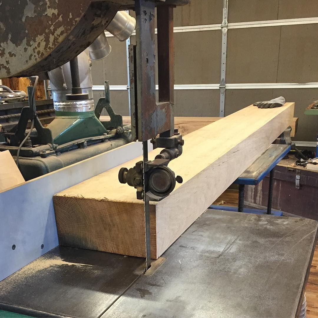 """Cutting the massive 6""""x12"""" white oak beams to final width. Lots of infeed and outfeed support on this one guys!    #workbench #roubo #workshop #woodwork #woodworking #wood #whiteoak #jointer #handmade #handtools  #madeinusa #madeinmichigan #shop  http://ift.tt/1XWCEvz"""