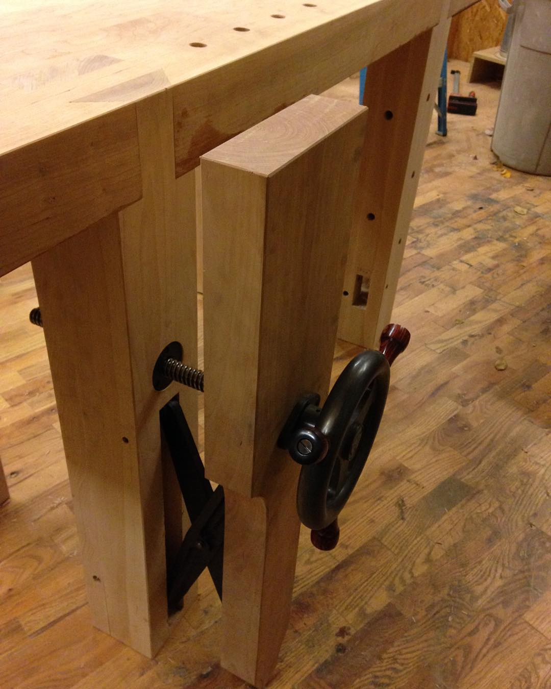 I started oiling the top of the cherry Roubo workbench tonight but forgot to take a picture. Here's a glamour shot of the leg vise in the meantime…  #condortails #madeinusa #madeinmichigan #Benchcrafted #woodshop #workshop  #woodwork  #handmade #cherry #beech  #workbench #roubo #tenon #dovetail #legvise #wagonwheel #woodworking #mcmfurniture #lienielsen #whiteoak  http://ift.tt/1M0msyo