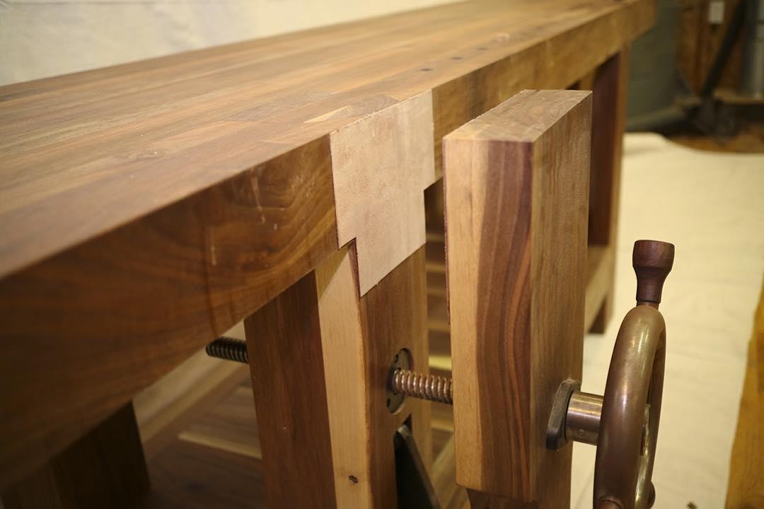 Walnut Roubo leg vise from the workbench for @cupandchisel   #madeinusa #madeinmichigan #Benchcrafted #woodshop #workshop  #woodwork  #handmade #walnut #workbench #roubo #tenon #dovetail #legvise #wagonwheel  http://ift.tt/1NhSKHM