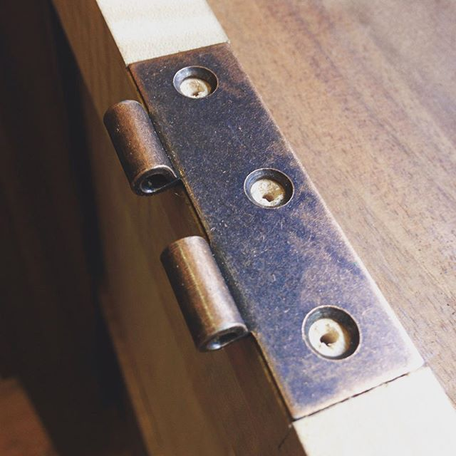 Back in the shop today after a week in NC and my wife's birthday yesterday. I received the hinges and knobs from Kelvin for his cabinet so I'm working to get those installed. Unfortunately this is not great quality hardware because the wanted finish wasn't available from higher end suppliers. Oh well…  #cabinet #maple #walnut #mcmfurniture #hinge #hardware #installation #design #handmade #madeinusa #madeinmichigan #kelvinscabinet  http://ift.tt/1KEUNWX