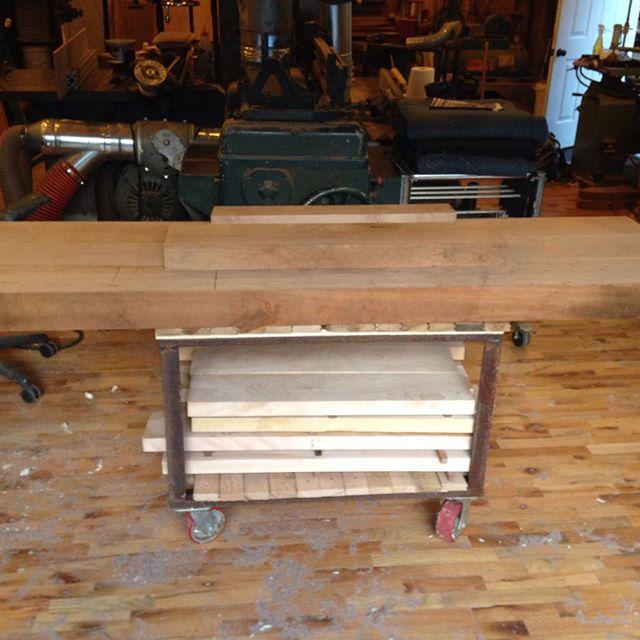 It's a workbench on a cart…  #roubo #mcmfurniture #woodworking #woodwork #workshop #woodporn #cherry #beech #beams #mcmfurniture #slabs #workbench  http://ift.tt/1J62z7O