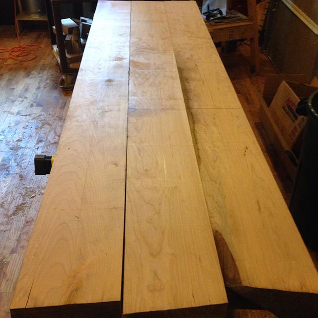 """Cherry beams for my new workbench. They need to be run through the planer a few more times but I will wait until they are glued up to maintain as much thickness as possible. It's nice to have a 24"""" Oliver!  #workshop #workbench #cherry #roubo #mortise #tenon #dovetail #Benchcrafted #bench #woodporn #woodshop #slabs #woodwork #woodworking  http://ift.tt/1MDSpBx"""
