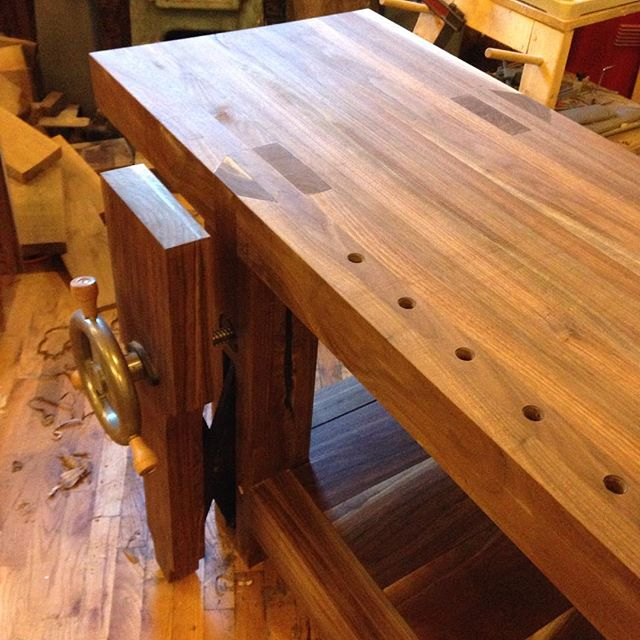 4 of 4 shots of a walnut Roubo workbench for @cupandchisel. This will be making its way down to Houston, TX in the near future.   #roubo #walnut #design #mcmfurniture #madeinusa #madeinmichigan #Benchcrafted #woodshop #workshop  #woodwork  #handmade #walnut #workbench #roubo #tenon #dovetai  http://ift.tt/1MX0YGc