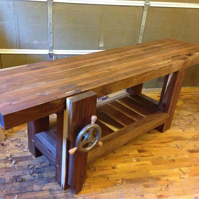1 of 4 shots of a walnut Roubo workbench for @cupandchisel. This will be making its way down to Houston, TX in the near future.   #roubo #walnut #design #mcmfurniture #madeinusa #madeinmichigan #Benchcrafted  http://ift.tt/1Dwua58