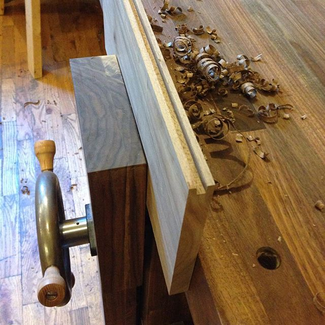 Using the new bench…to make the new bench…  #walnut #bench #workbench #tongueandgroove #mouldingplane #Benchcrafted #vise #cupandchisel #roubo  http://ift.tt/1HVnfAT