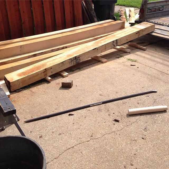 "I brought home about 3500lbs of white oak and walnut today. In the load is the lumber for my personal white oak Roubo workbench. I was unloading things pretty quickly but the wood looked to be very nice. Almost entirely clear and very few knots. The two 6""x12"" slabs for the top of the bench were cut radially from the log. This will hopefully provide the most stable slab possible short of a lamination.   I'm not going to be able to let this air dry for 6 years and then kiln dry for another year so I think I will coat the beams in some sort of oil to slow the drying process and hopefully minimize the surface checking. If anyone has done something like this please let me know. Thanks!  #whiteoak #oak #roubo #slab #lumber #airdrying #workbench #handmade  http://ift.tt/1Md6t3o"