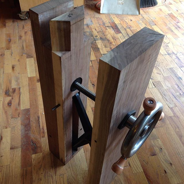 #Benchcrafted leg vise install done for David's workbench @cupandchisel. Now I need to shape the chop…  #vise #cupandchisel #mcmfurniture #madeinmichigan #handmade #workbench #roubo #walnut #legvise  http://ift.tt/1MtZiSe