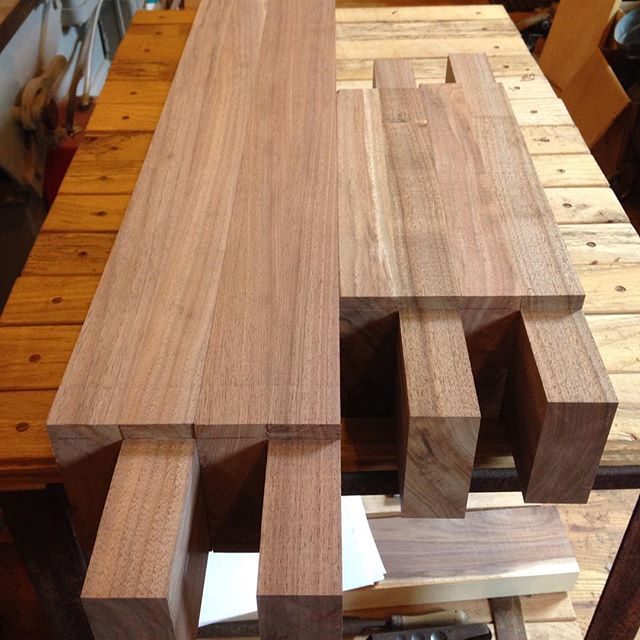 Stretcher tenons done for my TX customers walnut Roubo workbench. Now to finish up the leg mortises!  #woodporn #mcmfurniture #madeinmichigan #handmade #workbench #roubo #walnut #tenon  http://ift.tt/1Hc2SNq