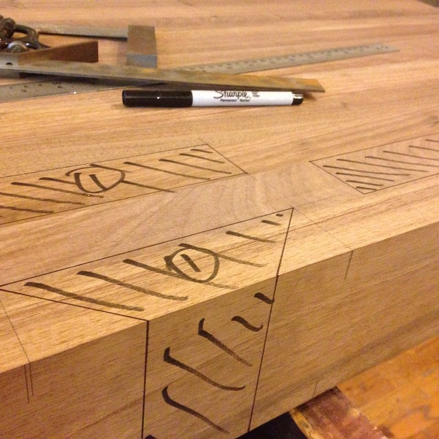 Mortise locations all marked and ready to go for the custom walnut Roubo workbench headed to my customer in TX. This will be my first installation of a #benchcrafted tail vise. Fun!  #woodshop #workshop #mcmfurniture #woodwork #madeinmichigan #handmade #walnut #workbench #roubo #tenon #dovetail #joinery  http://ift.tt/1T7dZ1z