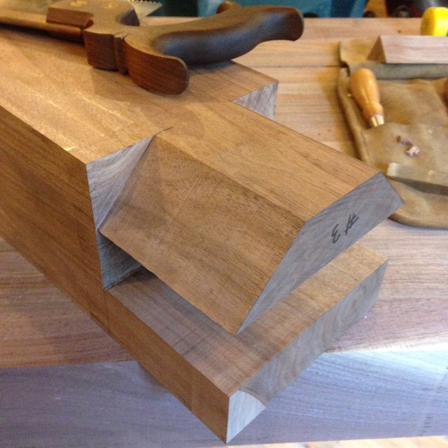 Here's one of the four legs. Tenons are cut. Probably won't get to the mortises until Wednesday…  #dovetail #tenon #roubo #workbench #walnut #handmade #madeinmichigan #woodwork #mcmfurniture #workshop  http://ift.tt/1U1Ug4G