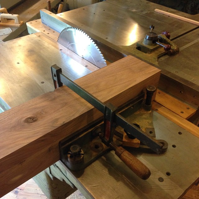 """Getting ready to cut some monster walnut legs for the Roubo workbench I'm building for my customer in TX. My new saw has 5-½"""" of blade above the table at 90deg. Pretty slick!  #workbench #roubo #wadkin #walnut #handmade #woodwork #workshop #machinery #madeinmichigan #mcmfurniture  http://ift.tt/1J5vISf"""