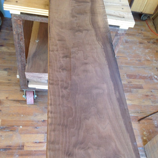 "I got a beautiful walnut mantle beam for a customer today. 13'6"" long and 2-¾"" finished thickness. It has some beautiful figuring!  #mantle #walnut #beam #slab  http://ift.tt/1EXWOFY"