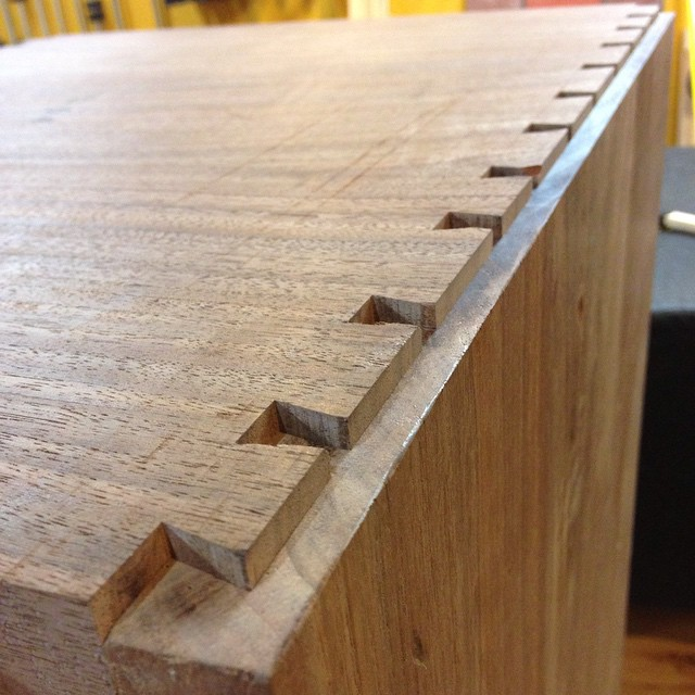 """Time for glue up on Kelvin Scott's workbench insert. I separated all the dovetails about 3/8"""" and used hide glue so things wouldn't seize up when I knocked it back together. Good news! It all went back together just fine and I checked for square with pinch rods. Success…  #workshop #dovetails #mcmfurniture #kelvinscabinet #handmade #joinery #joint #hideglue #walnut  http://ift.tt/1EqmiLM"""