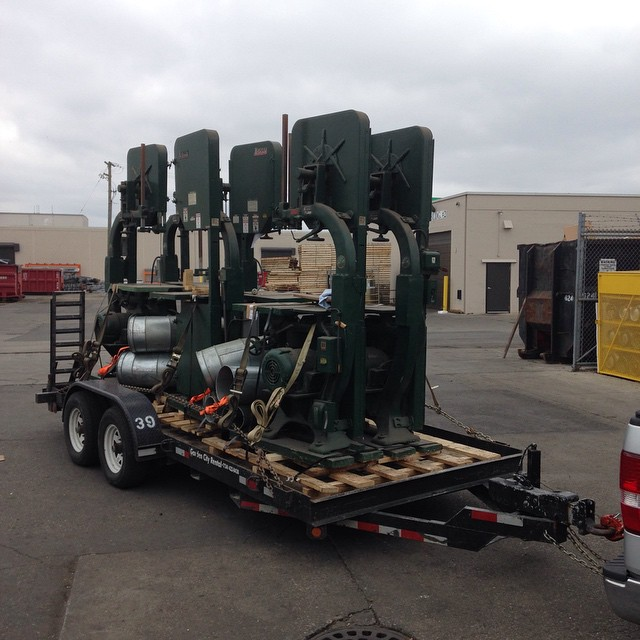 """Here was my last big haul. Six Northfield 27"""" bandsaws that went to Hermance Machine in PA. No trouble with the trailer on this one. Thank goodness!  #bandsaw #Northfield #owwm #vintage #machinery #machinerymoving #trailerfun #trailer #gladthatsover  http://ift.tt/1HxuqPn"""