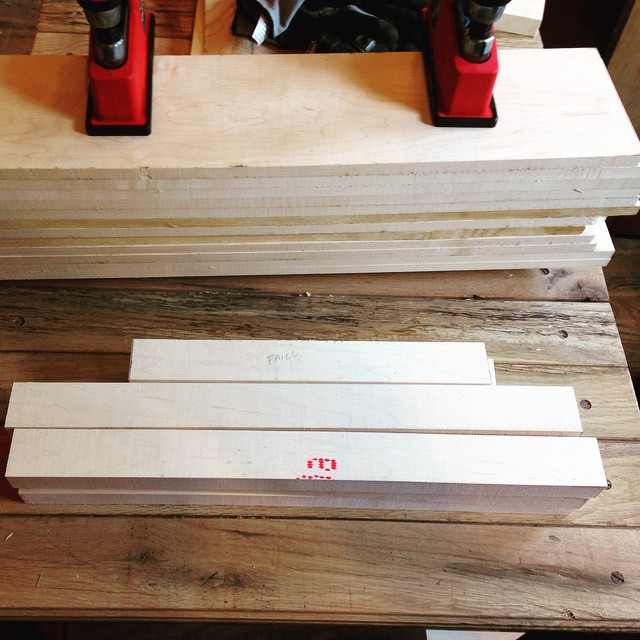 Drawer and door stock rough milled up today for Kelvin Scott's workbench insert cabinet. Hopefully the