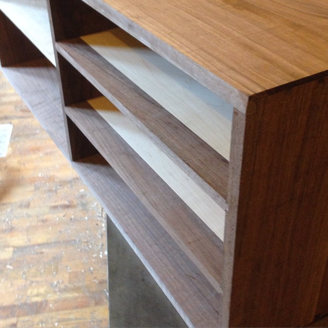 All the shelves are now dry fit in the workbench insert for luthier Kelvin Scott. Hooray! Now I need to square up the carcass and start on the drawers and doors…  #walnut #mcmfurniture #woodworking #finewoodworking #joinery #joint #cabinet #handmade  http://ift.tt/1QPfEJ5