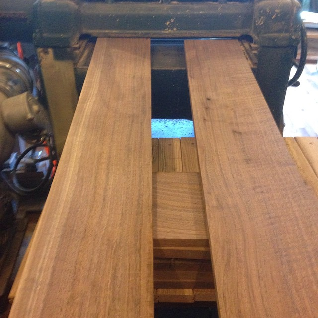 Running some wood through my Oliver 299 planer. Some beautiful grain and figure on this walnut! I've got my jointer all dialed back in and am happy to be making shavings. Life is good.  #walnut #planer #Oliver #figuredlumber  http://ift.tt/1ImIHha