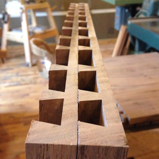 Cutting some dovetails for the workbench insert I'm making luthier Kelvin Scott  #dovetails #workbench #walnut #mcmfurniture  http://ift.tt/1EwNkaT