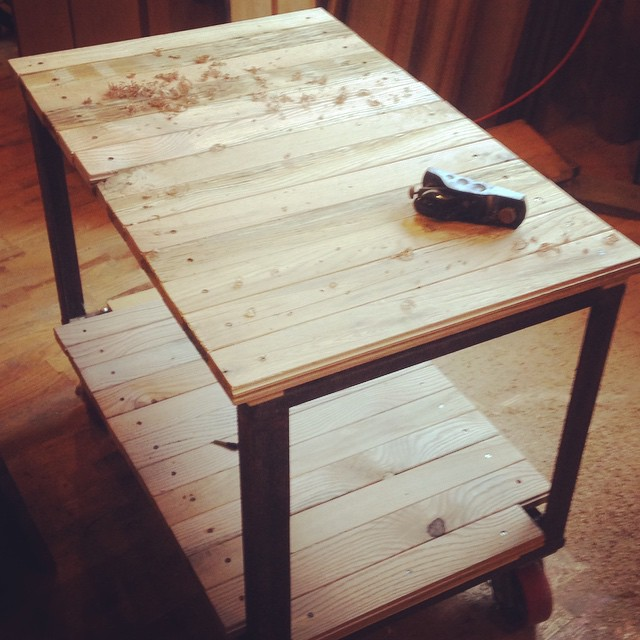 Finally finished my new shop cart. This will make going between machinery to surface stick much easier! Excellent… #shop #shopcart #woodworking #handmade #madeinmichigan  http://ift.tt/1FNAxk7