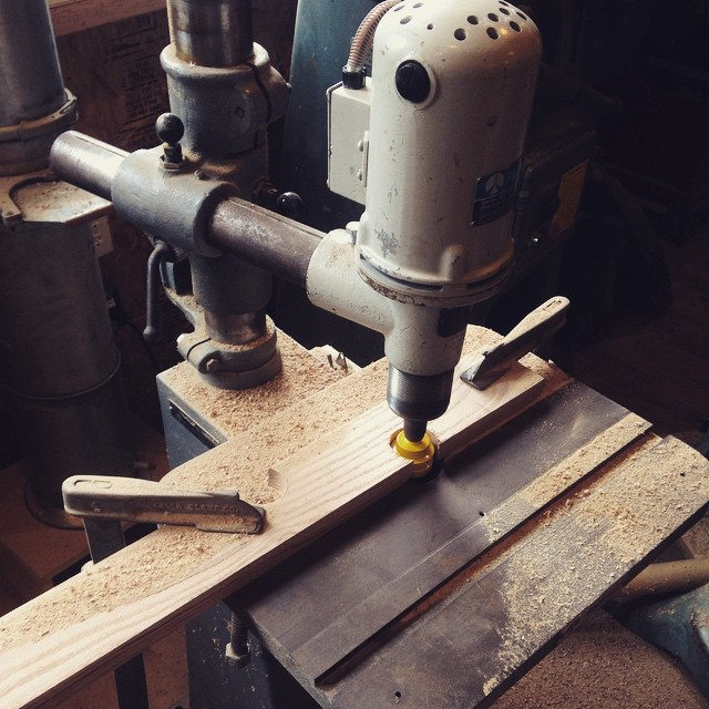 Using my little overhead router to put an edge on some boards for my new shop cart  #router #overheadrouter #shop #shopcart #woodworking #handmade #madeinmichigan  http://ift.tt/1E6Bl2X