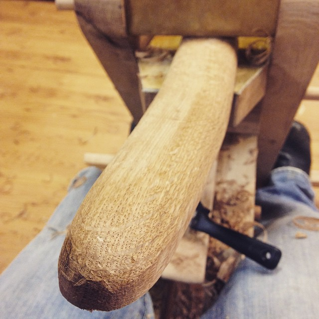 Working on the arm for an upcoming chair design based on a Milo Baughman mid century style. This is a piece of steam bent white oak - sweet!  #midcentury #mcm #baughman #steambent #oak #whiteoak #shavehorse #spokeshave #madeinmichigan  http://ift.tt/1NHVezY