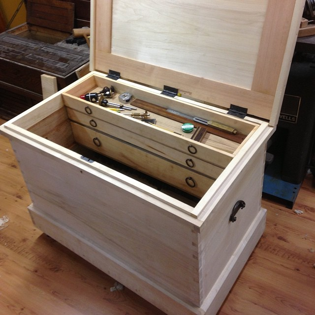 Tool chest built last year. It's Chris Schwarz's design from his toolchest book. A great project to build and use! I left the outside white versus painting or staining.  #tool chest #Chris Schwarz #hand tools #dovetailed  http://ift.tt/1wQ22qp