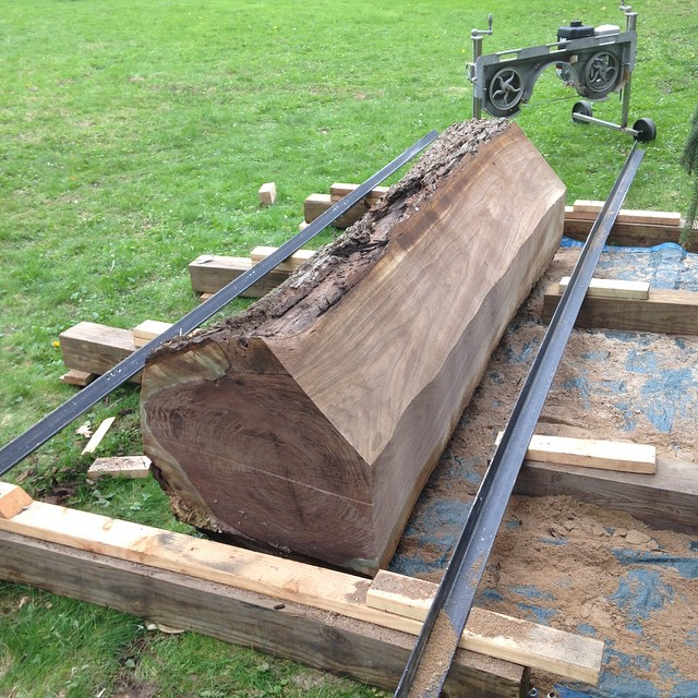 A monster walnut log that I cut last summer. The homeowner was happy to see it get used versus made into firewood! They love Mid century furniture too.  #walnut #log #sawmill #sawing  http://ift.tt/1DXiEcA