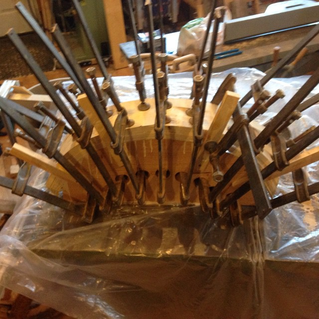 A tangled mess of clamps, cauls and glue!  http://ift.tt/1zRfbtT