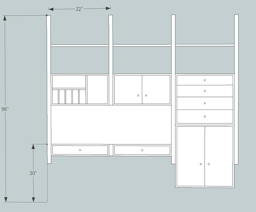 Here's the first preliminary sketch of my mid century wall unit - version 1.0