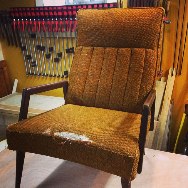 """""""New"""" Kroehler chair to reupholster. This the first of two…  http://ift.tt/1etYREN"""
