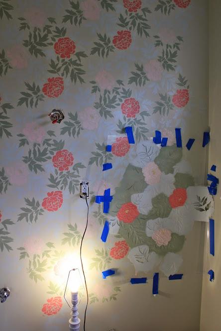 Half-way through stenciling the Peony Bathroom.
